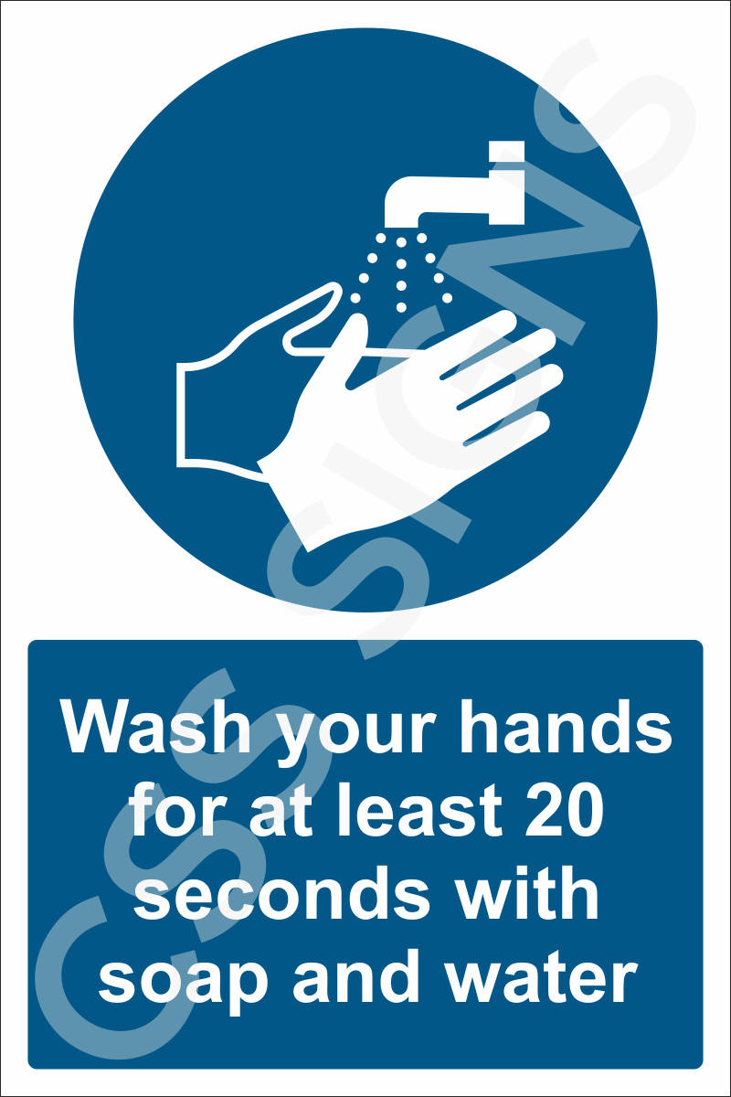 Wash your hands for 20 seconds sign