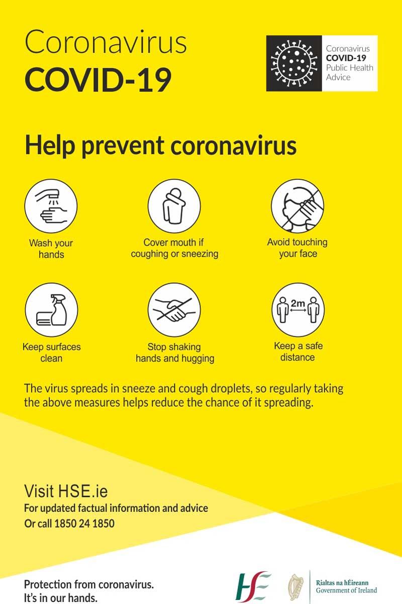 Coronavirus - Guidelines (HSE) Sign