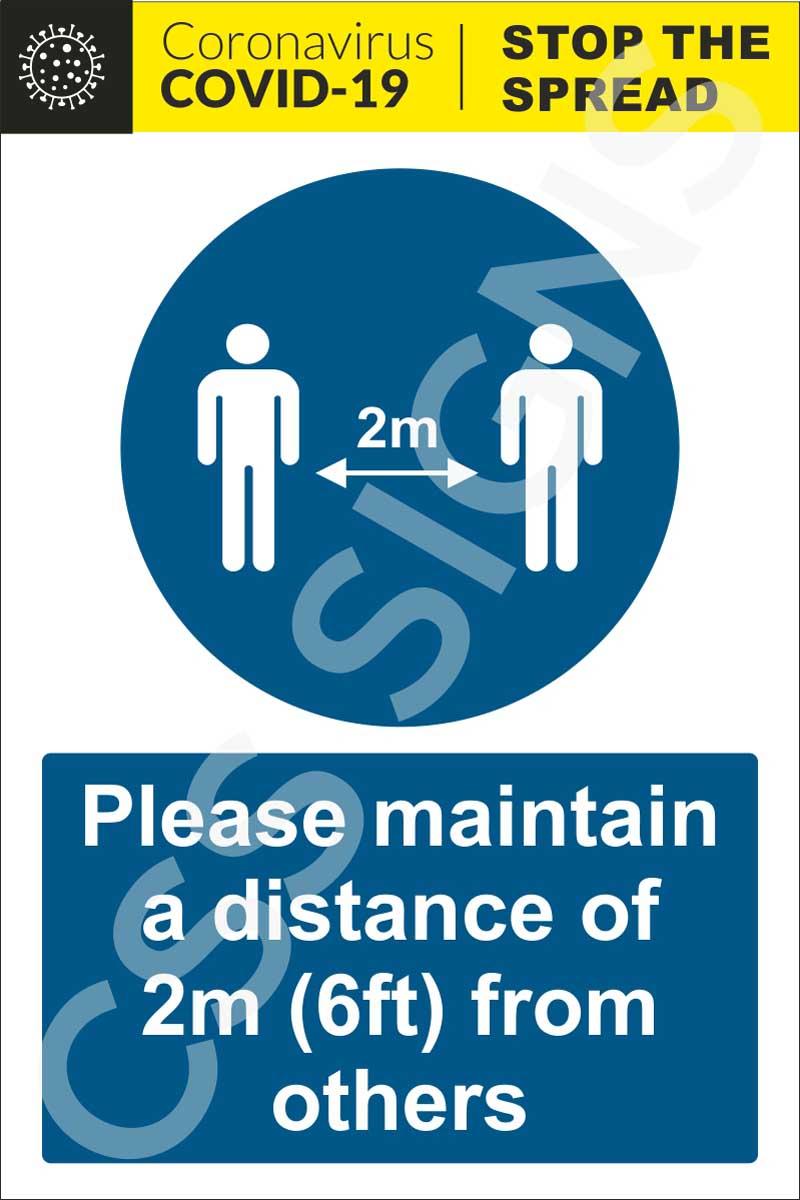 Coronavirus - Maintain 2m Distance Sign