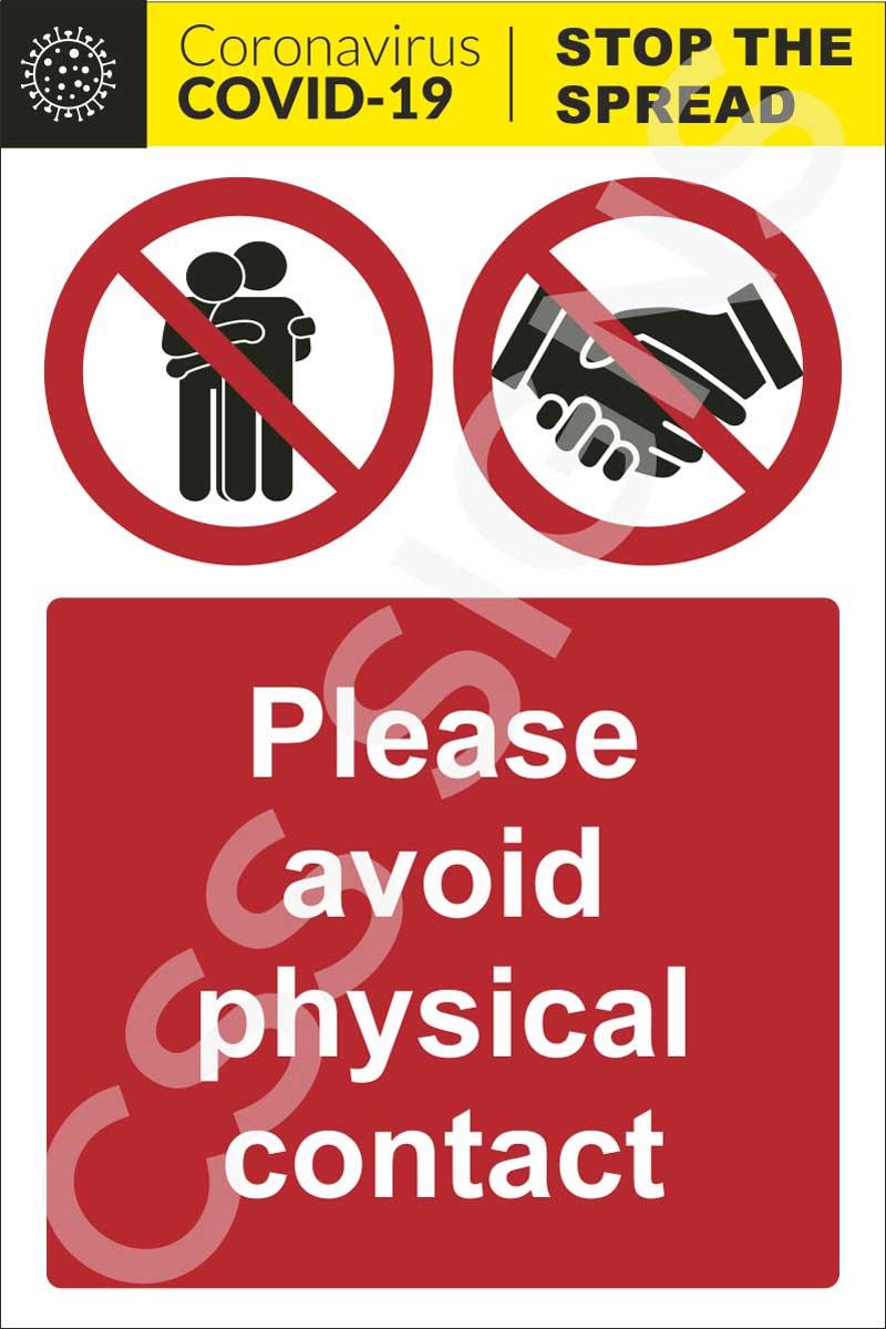 Coronavirus - Avoid Physical Contact Sign