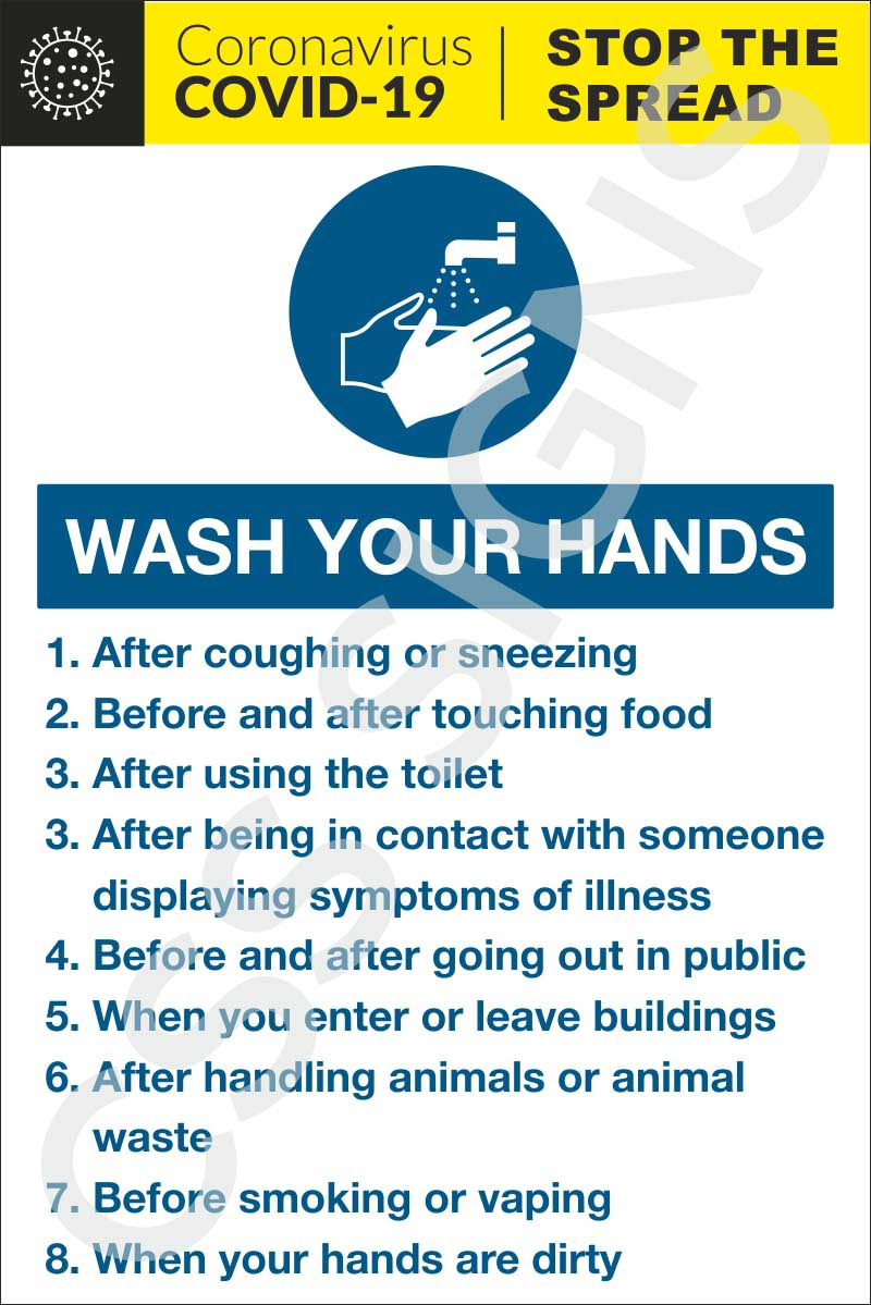 Coronavirus - Hand Washing Sign