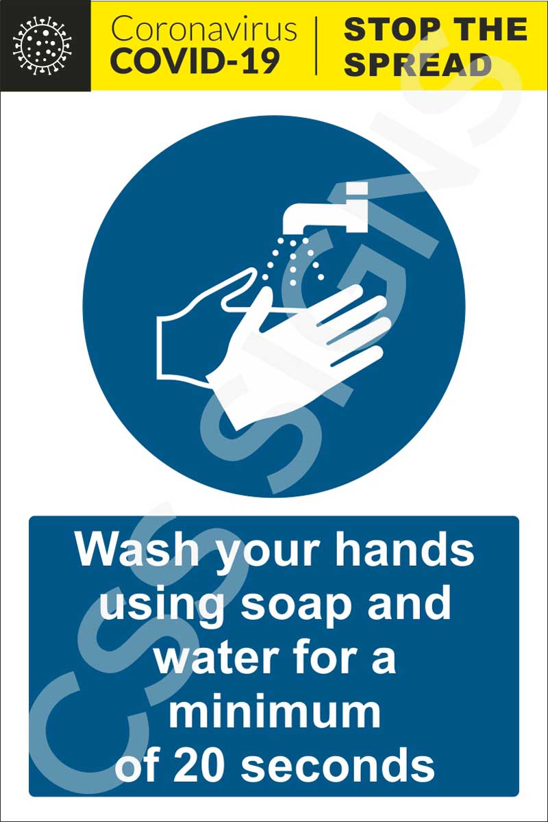 Coronavirus - Wash Your Hands for 20 Seconds Sign