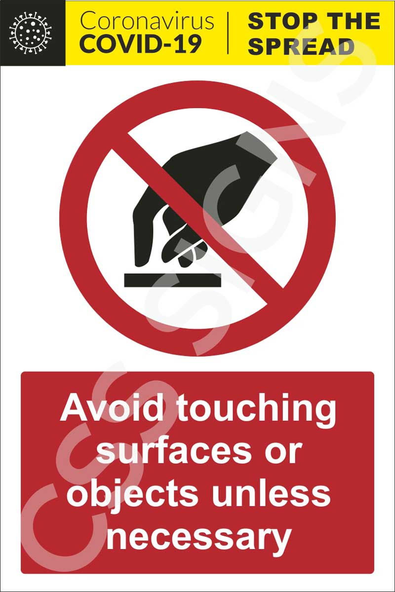 Coronavirus - Avoid Touching Objects or Surfaces Sign