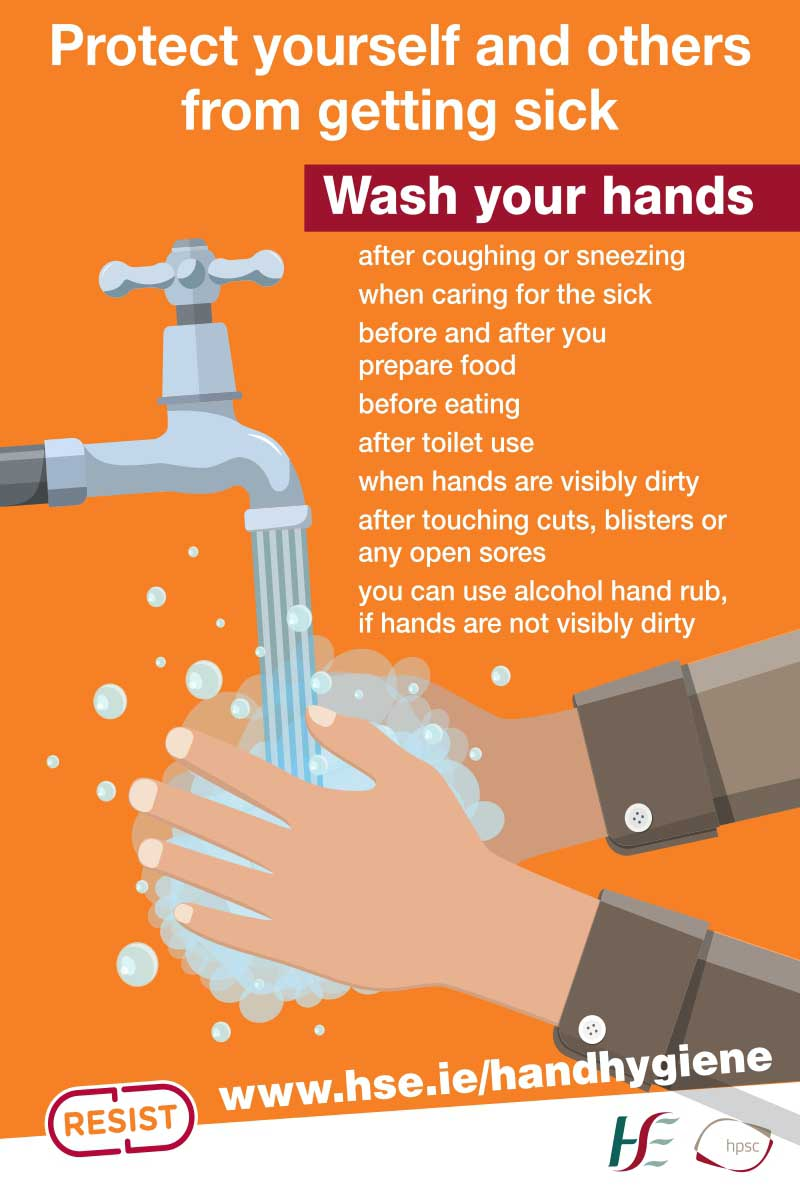 Coronavirus - Hand Washing (HSE) Sign