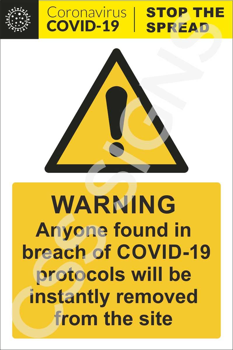 Coronavirus - Construction Site Warning Sign