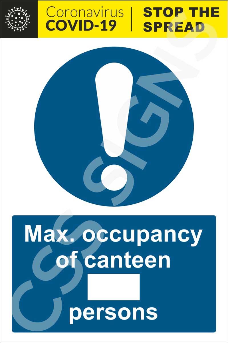 Coronavirus - Maximum Occupancy Canteen Sign